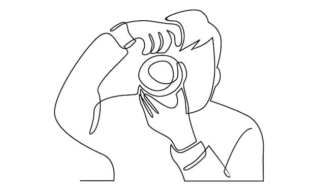 Linea continua dell'uomo che tiene l'illustrazione della fotocamera digitale