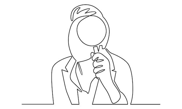 Linea continua dell'uomo che tiene l'illustrazione della lente d'ingrandimento