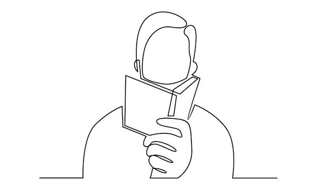 Linea continua dell'uomo che legge un'illustrazione del libro