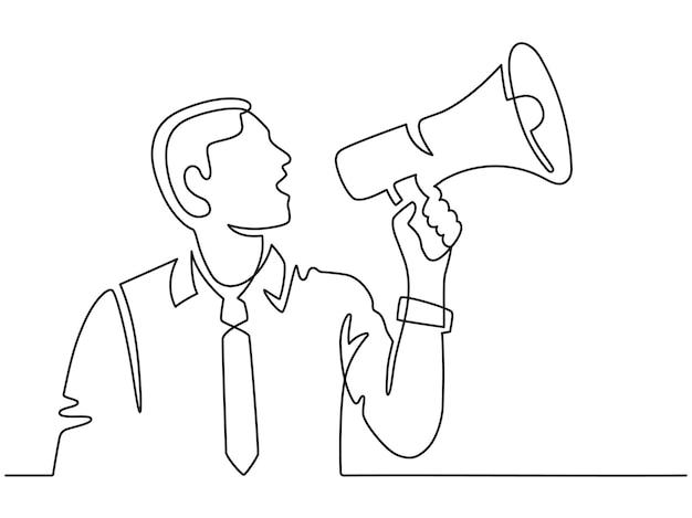 Uomo di linea continua con megafono. siluetta maschile urla in altoparlante. l'uomo d'affari assume un dipendente, protesta o annuncia il concetto di vettore. illustrazione annuncio megafono e altoparlante