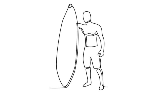 Linea continua di uomo con illustrazione di tavola da surf