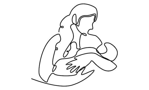 Linea continua della festa della mamma madre che tiene l'illustrazione del bambino