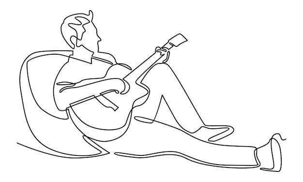 Linea continua di musicista che suona la chitarra illustrazione