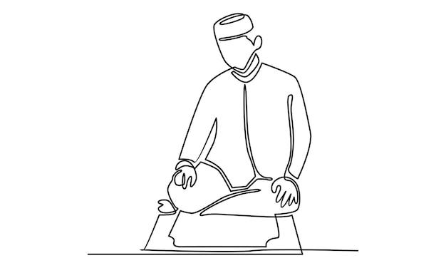 Linea continua di musulmani che fanno l'illustrazione di salah salat shalat sholaat