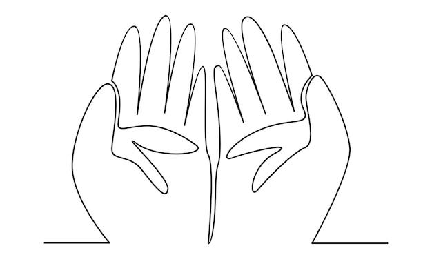 Linea continua di illustrazione di preghiera della mano musulmana