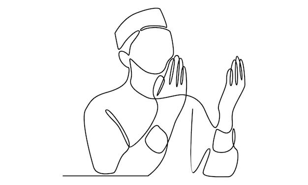 Linea continua di illustrazione di preghiera dell'uomo musulmano