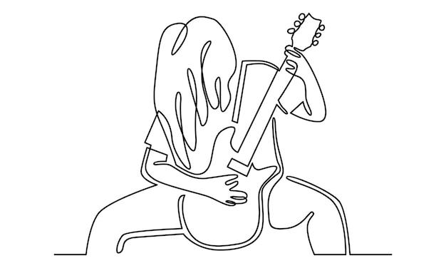 Linea continua di musicista rock che suona l'illustrazione della chitarra elettrica