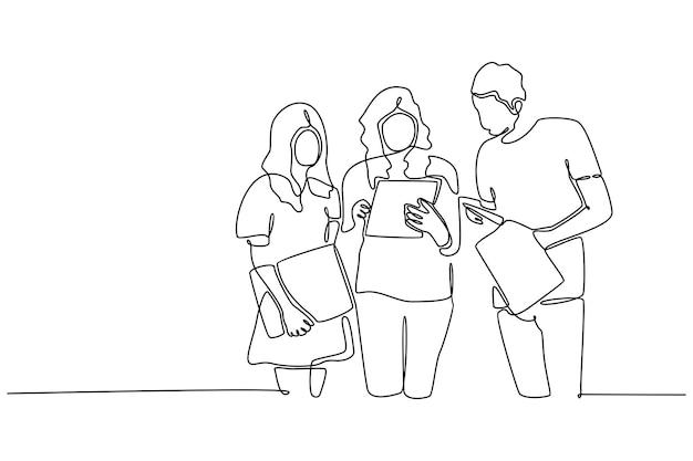 Linea continua tre studenti si incontrano con il libro illustrazione vettoriale