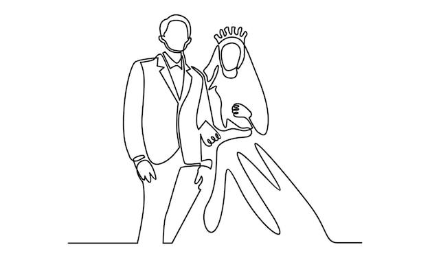 Linea continua dell'illustrazione del matrimonio delle coppie di sposi