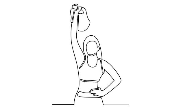 Linea continua di atleta donna con illustrazione di pesi