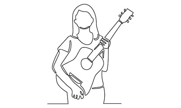 Linea continua di donna che tiene l'illustrazione della chitarra acustica