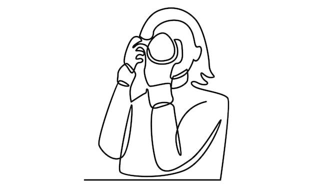 Linea continua di donna che tiene l'illustrazione della fotocamera digitale