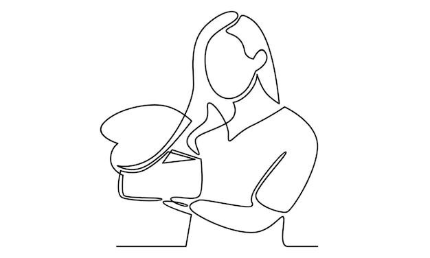 Linea continua di donna che tiene in mano un'illustrazione di una confezione regalo
