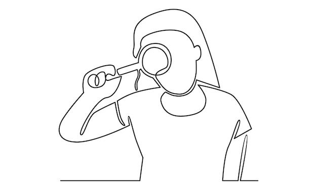 Linea continua di donna che tiene in mano un'illustrazione di lente d'ingrandimento