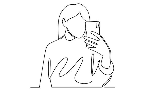 Linea continua dell'illustrazione del telefono della holding della donna
