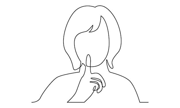 Linea continua di donna che fa l'illustrazione del gesto di silenzio