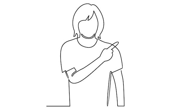 Linea continua della donna che indica l'illustrazione del gesto della mano