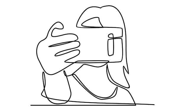 La linea continua di donne si fa un selfie con l'illustrazione del telefono con fotocamera