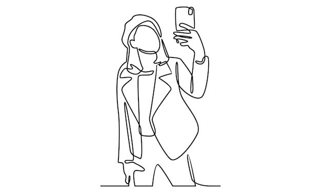 La linea continua della donna prende selfie con l'illustrazione della fotocamera del telefono
