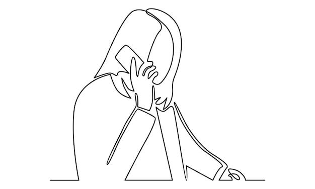 Linea continua di donna che parla con la sua illustrazione del telefono