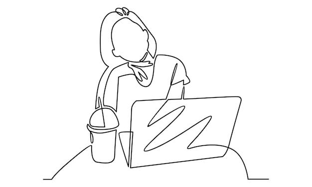 Linea continua di donna che lavora con l'illustrazione del computer portatile