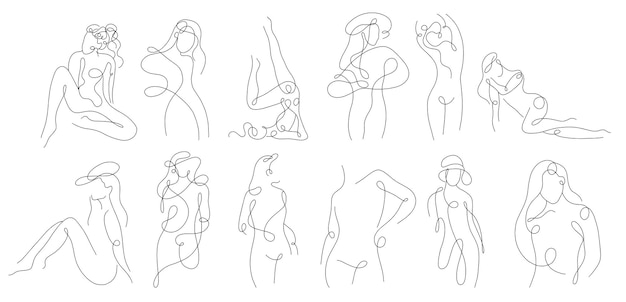 Siluetta lineare continua del corpo femminile
