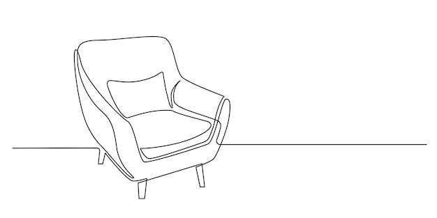 Disegno a tratteggio continuo di poltrona con cuscino su sfondo bianco