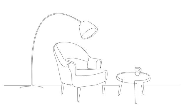Disegno continuo a una linea di poltrona con tavolo e tazza e lampada da terra arredi in stile scandinavo...
