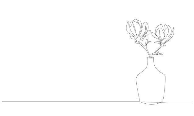 Disegno continuo a una linea di bellissimi fiori di magnolia in vaso di vetro alla moda pianta fiorita