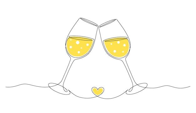 Disegno continuo di una linea di applausi due bicchieri con il concetto di brindisi romantico champagne con cuore s...