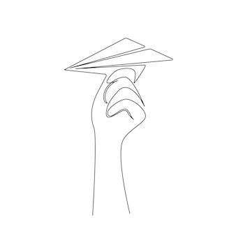 Disegno continuo a una linea della mano che lancia un concetto di aeroplano di origami di aeroplano di carta di nuova startup