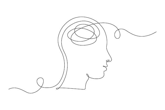 Disegno continuo a una linea di una persona con sentimenti confusi preoccupato per una cattiva salute mentale. problemi, fallimento e concetto di dolore. illustrazione vettoriale di lineart