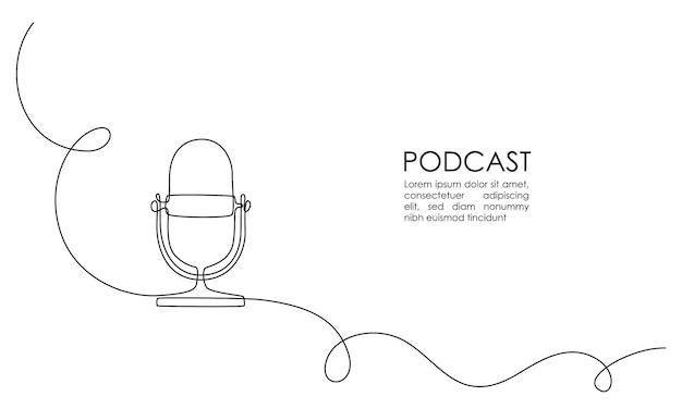 Disegno continuo a una linea del microfono podcast con scritte podcast su sfondo bianco