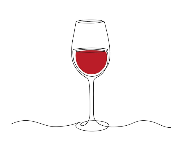 Disegno a tratteggio continuo di un bicchiere di vino rosso. tratto modificabile illustrazione vettoriale