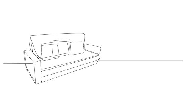 Disegno a tratteggio continuo di un divano su sfondo bianco