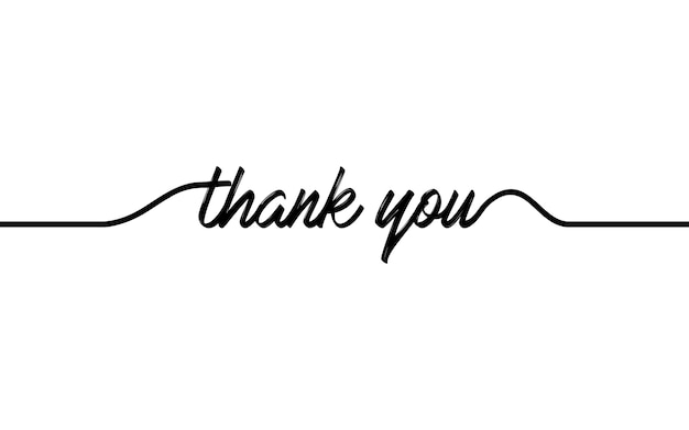 Disegno di una linea continua di testo di ringraziamento.
