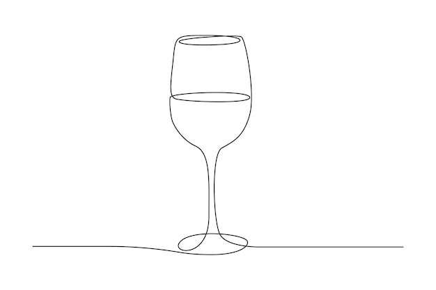 Disegno a tratteggio continuo di un bicchiere di vino. bere in tazza in semplice stile lineare. tratto modificabile. illustrazione vettoriale in bianco e nero