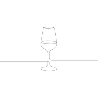 Bicchiere da vino con disegno a tratteggio continuo isolato su sfondo bianco