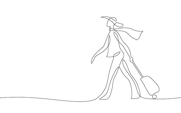 Continuo un concetto di ragazza di viaggio d'arte a linea singola. schizzo disegnato a mano di bella donna moda turistica. illustrazione vettoriale monocromatica bianca dell'agenzia di viaggi estivi.