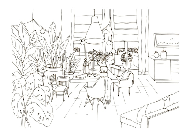 Disegno di contorno di un'accogliente sala da pranzo o soggiorno arredato in stile scandic hygge alla moda con tavolo, sedie e divano