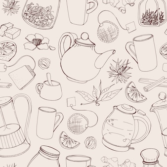 Modello senza cuciture di contorno con strumenti disegnati a mano per preparare e bere il tè