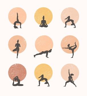 I contorni delle donne nello yoga pone su uno sfondo di cerchio. trend contemporaneo.