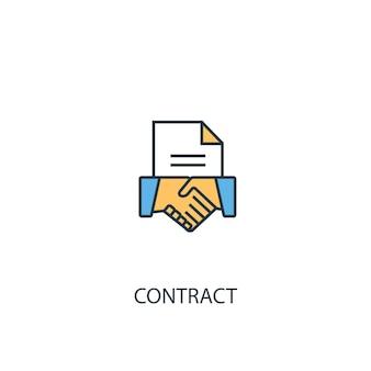 Concetto di contratto 2 icona linea colorata. illustrazione semplice dell'elemento giallo e blu. disegno del simbolo del contorno del concetto di contratto