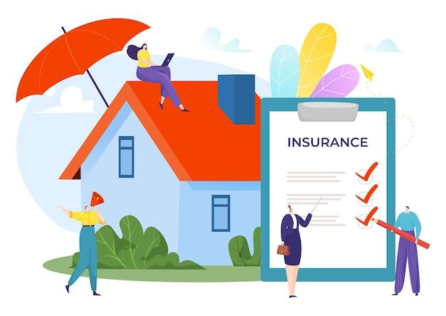 Contratto per illustrazione sicura di assicurazione immobiliare domestica