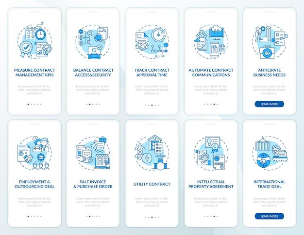 Schermata della pagina dell'app mobile per l'onboarding della gestione dei contratti con i concetti impostati. procedura dettagliata per la preparazione del contratto 10 passaggi. illustrazioni del modello di interfaccia utente