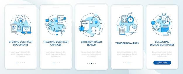 Le funzioni del software di gestione dei contratti integrano la schermata della pagina dell'app mobile con i concetti. salvataggio dei documenti passaggi della procedura dettagliata. illustrazioni del modello di interfaccia utente