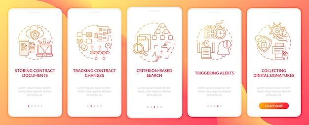 Le funzioni del software di gestione dei contratti integrano la schermata della pagina dell'app mobile con i concetti