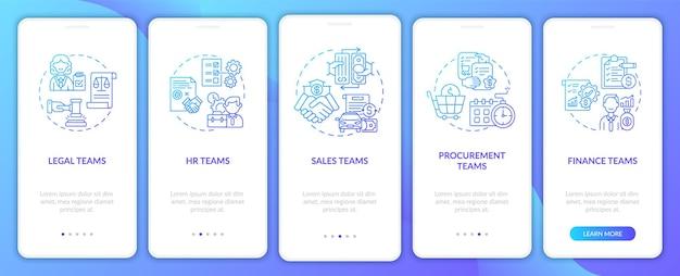 Set di schermate della pagina dell'app mobile per gli utenti del software di gestione dei contratti