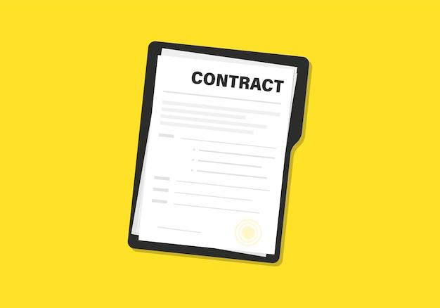 Documenti contrattuali. documento. cartella con timbro e testo. pila di documenti documenti accordi con firma e timbro di approvazione. documenti contrattuali. concetto di scartoffie aziendali, illustrazione piatta