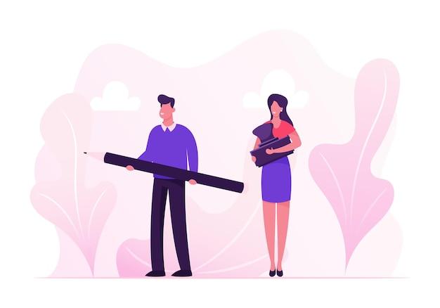 Concetto di firma del contratto. uomini d'affari uomo e donna che tengono penna e sigillo timbro per l'approvazione del documento di legge o finanza. cartoon illustrazione piatta